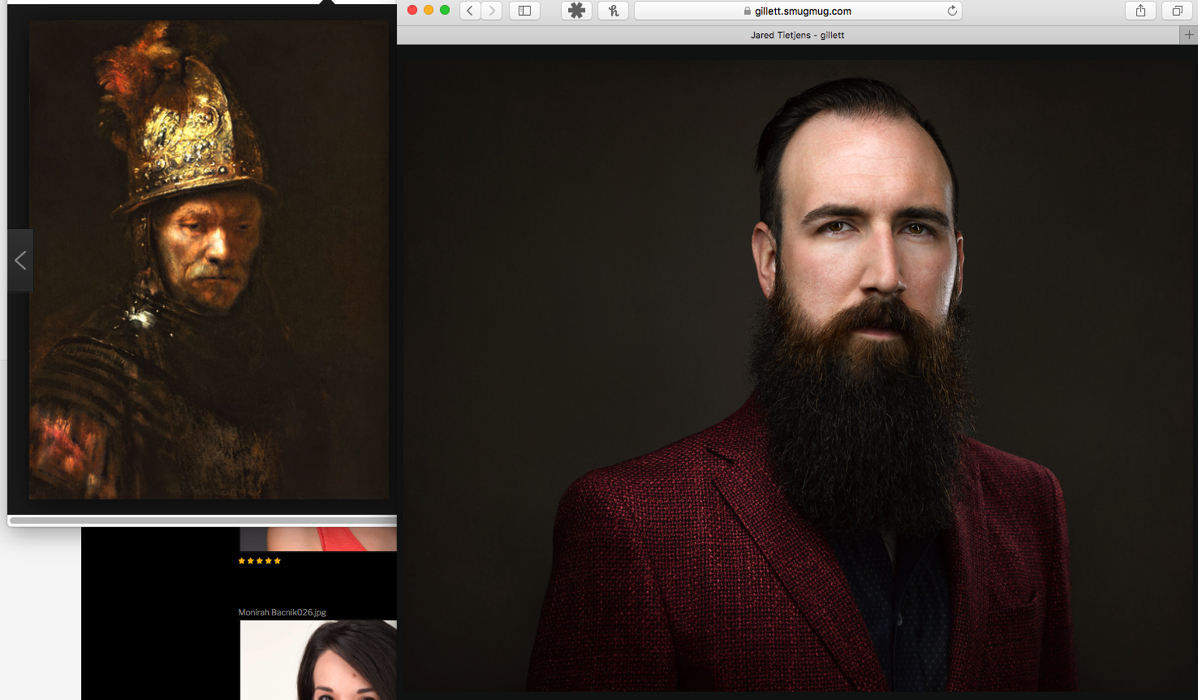 screenshot of Gillett portrait compared to Dutch master painting